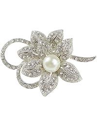 Pretty 5cm Crystal Diamante Sparkly Round Flower Starburst Lapel Brooch