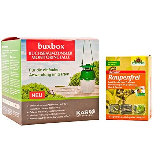 KAS buxbox Buchsbaumzünsler-Falle + Neudorff Raupenfrei Xentari Spritzmittel 25g