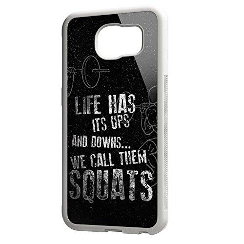 Smartcover Case Life has its ups z.B. für Iphone 5 / 5S, Iphone 6 / 6S, Samsung S6 und S6 EDGE mit griffigem Gummirand und coolem Print, Smartphone Hülle:Samsung S6 EDGE weiss Samsung S6 EDGE weiss