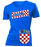 Kroatien 3196 Fussball Fanshirt Damen Fun-T-Shirts Blau L