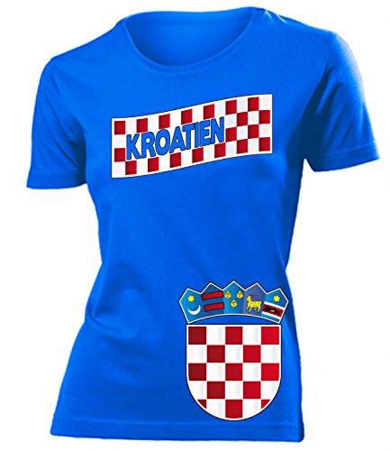 Kroatien Croatia Hrvatska Fan t Shirt Artikel 3196 Fuss Ball EM 2020 WM 2022 Team Trikot Look Flagge Fahne lopta nogomet Frauen Damen Mädchen S