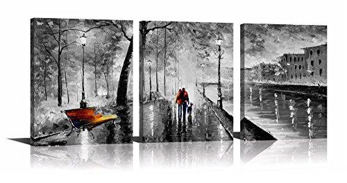 YPY 3Panel Palette Messer Öl Gemälde abstrakt modern City Street View Stadtbild Gebäude Artwork Walking Art Wand für Wohnzimmer -