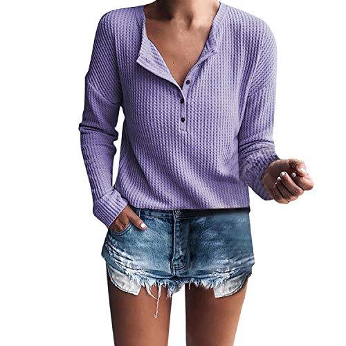 Soft Knit Langarm (Damen Langarm T-Shirt V Ausschnitt Button Down Knit Tunika Bluse Knot Henley Tops Strickpulli Langarmshirts Strick Pullover Sweater Einfarbig Slim Fit Bluse Jumper Outwear Oberteile Rovinci)