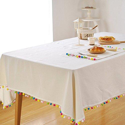 Tischdecke Leinen Weiße Quadratische (Farbige Kugeln Quasten Tisch Tuch Abdeckungen) weiß Baumwolle Leinen Dekoration Tischdecke, Textil, weiß, 140*180cm)
