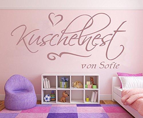 Preisvergleich Produktbild Mädchen Wandtattoo mit Namen, 1pt2-pk54-58x28cm, violett - Kuschelnest - fürs Mädchenzimmer, Kinderzimmer, Wandaufkleber Wandtatoos Sticker Aufkleber für die Wand, Tapetensticker, Namensaufkleber mit Wunschname, in 32 Farben wählbar
