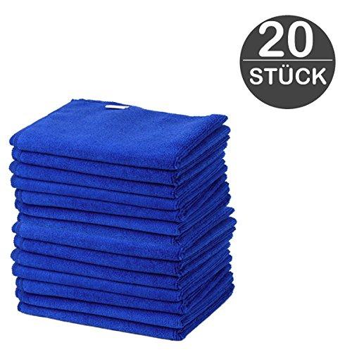 Microfasertücher Blau 20 Stück 30 x 30 cm besonders weiche und saugstarke Reinigungstücher aus 100% Microfaser für Auto, Haushalt, Garage, Glas, Display von wortek