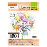 Vaessen Creative Florence Aquarellpapier A4 in Elfenbein Weiß, aus 200 g/m² Glattem Papier, 12 Blatt für Aquarellmalerei, Handlettering und Brush Lettering
