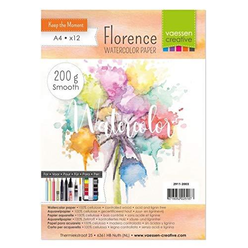 Vaessen Creative Florence Carta per Acquerello Pressata a Caldo A4, Avorio, 200 g/mq, qualità Belle Arti, Grana Satinata, 12 Fogli per Pittura, Handlettering, Progetti Artistici e Altro Ancora