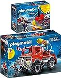 PLAYMOBIL® City Action 2er Set 9466 9468 Feuerwehr-Truck + Feuerwehrmänner mit Löschpumpe