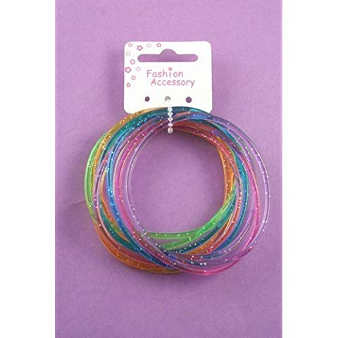 Card of 12 glitter coloured gummy bangles