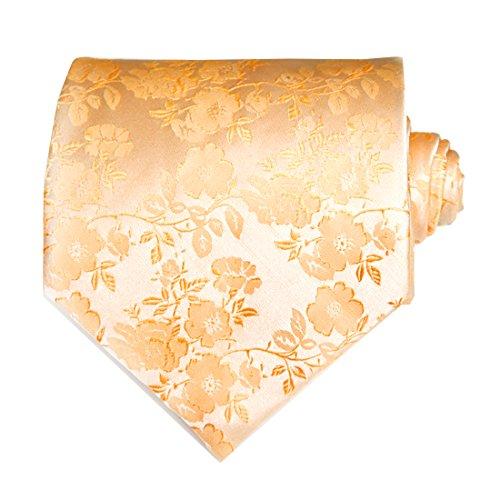 TNS Krawatten-Set, inkl.Manschettenknöpfe und Einstecktuch, Paisley-Muster / Blumendesign, goldfarben