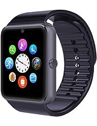 AsiaLONG Bluetooth Smartwatch Smart Uhr Watch Armbanduhr mit 1.54 Zoll Display / SIM Kartenslot / Schrittzähler / Schlafanalyse / SMS Call Vibration für Android Smartphone (Schwarz)