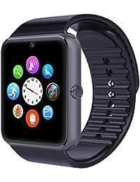 willful Bluetooth SmartWatch Reloj de pulsera inteligente Reloj Fitness Tracker Wristband Deporte Watch Phone con ranura para tarjeta SIM/cámara/función NFC/étape contador/sleepyracker/Capture de romte Compatible con Smartphones Android, negro
