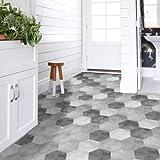 APSOONSELL Piastrelle Adesive Pavimento Esagonale-Shaped PVC geometrico grigio Impermeabile Decorazione per Cucina Bagno Fai da Te Set di 10 Pezzi (Lunghezza: 11,5 cm di diametro: 23 cm)