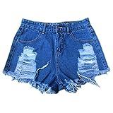 QIYUN.Z Women's Ladies Denim Jeans Shorts High Waisted Ripped Shorts