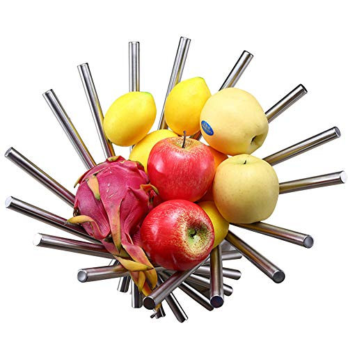 Apark Frutero - Creativo Frutero plegable de acero inoxidable - 38 x 20 cm Moderno antioxidante giratoria Cesta de frutas como decoración para la cocina y mesa de comedor