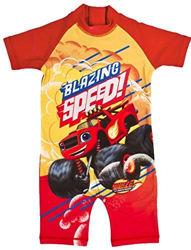 Costume da bagno da bambino, con stampe di vari personaggi, ideale per non scottarsi in spiaggia blaze - blazing speed 2-3 anni