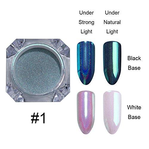 NICOLE DIARY 1 Box Holographische Nagel Pulver Chameleon Wirkung Einhorn Meerjungfrau Spiegel Glitter Nail Art Chrom Pigment Dekoration # 6
