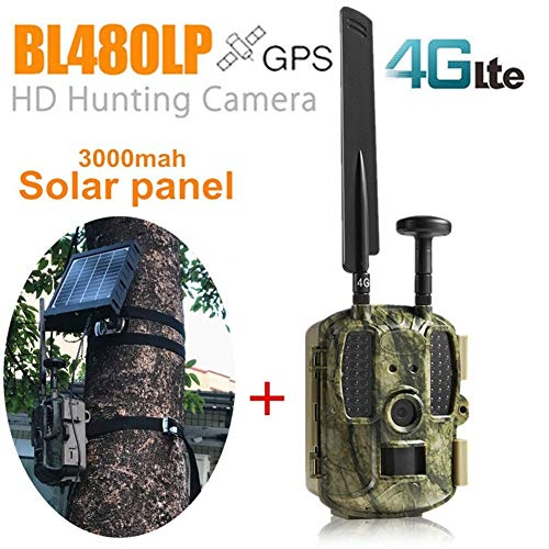 Wildkamera mit bewegungsmelder nachtsicht GPS-4G-Jagd-Kamera mit Solarpanel Ladegerät 3000mAh BL480L-P Foto-Fallen Wilde Kamera mit Solarbatterie Hunter Kamerafallen ( Color : AU.NZ version )