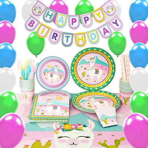 WERNNSAI Lama Party Zubehör Eingestellt - 169 PCS Kaktus Rosa Partydekorationen für Mädchen Geburtstag Banner Ballons Bestecktasche Tischdecke Platten Tassen Servietten Strohhalme Utensilien 16 Gäste