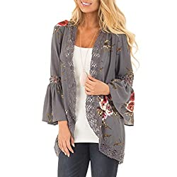 Women Cardigan, Keepwin Floral Printed Lace Trim Bell Sleeve Open Front Outwear Coat