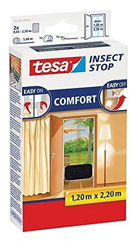 tesa® Insect Stop Fliegengitter COMFORT für Türen, anthrazit, durchsichtig, 1,20 m x 2,20 m (2er