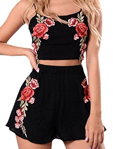 confit you - Damen Shorts mit Top in Rosen Blumen Stickerei- Strandoutfit , XS-XL, Viele Farben Schwarz