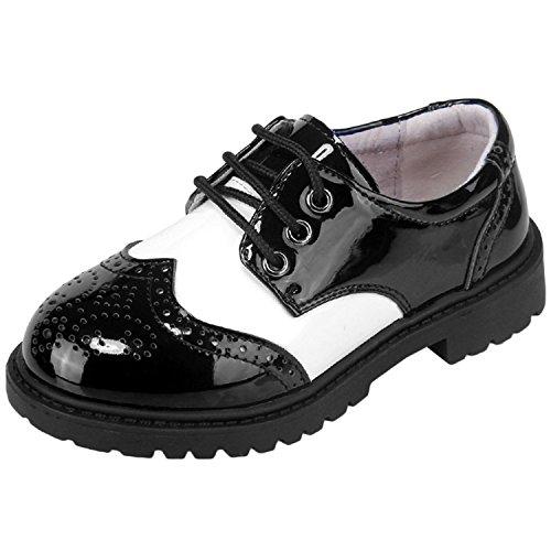 Oasap Jungen Lackleder Schnürsenkel Oxford Schuhe Black&white