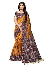 Fabwomen Sarees Kalamkari Mustard And Multi Coloured Kashmiri Silk With Tessels Fashion Party Wear Women's Saree...