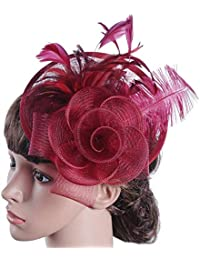 Eastery Gorros Boinas Flor Grande Red Boda Pluma Diadema Novia Mujeres  Estilo Simple Tea Party Iglesia 133708640c9