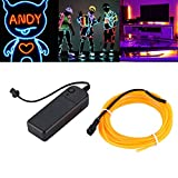 Flexible EL Wire Neon Light 3 Meters for Dance Party Car Decor with Controller Waterproof Car Vehicle Shoes LED Light - Yellow