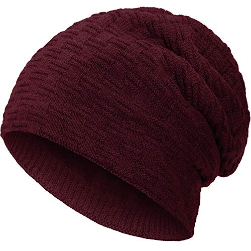 Compagno warm gefütterte Wintermütze Beanie Strickmütze Hat Herren Damen Mütze Haube Einheitsgröße, Farbe:Dunkelrot