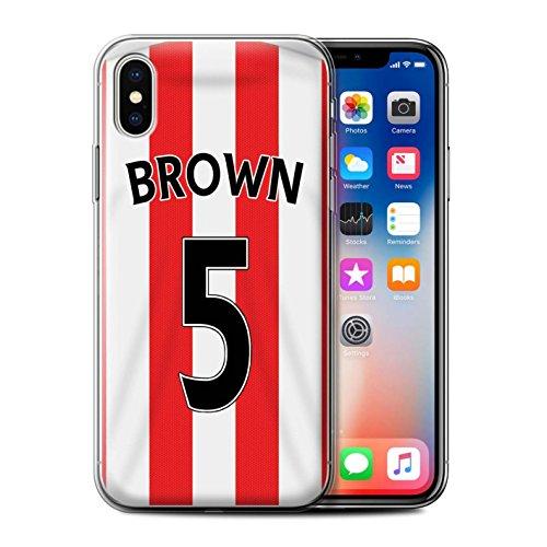 Officiel Sunderland AFC Coque / Etui Gel TPU pour Apple iPhone X/10 / Kone Design / SAFC Maillot Domicile 15/16 Collection Brown