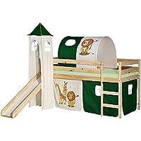 Preisvergleich für IDIMEX Rutschbett Benny Hochbett Kinderbett Spielbett Holzbett mit Rutsche, Vorhang, Tunnel und Turm mit Motiv Dschungel, Kiefer massiv Natur lackiert, 90 x 200 cm