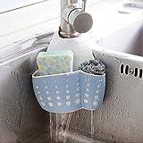 HCFKJ Nützliche Saugnapf Sinken Regal Soap Sponge Drain Rack Küche Sucker Storage Tool (BLAU)