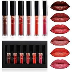 Lipgloss Set, Luckyfine 6 Farben Lipgloss Matte Lippenstift, Liquid Lipstick wasserdichte und langlebige Matte Flüssigkeit Lipgloss, Nicht leicht zu verblassen, Perfektes Geschenk für Frauen