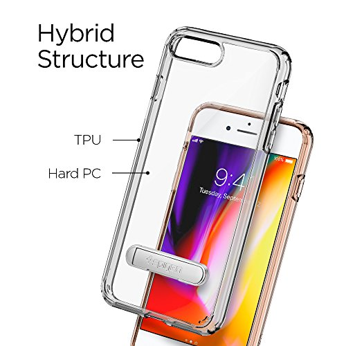 iPhone 8 PLUS / 7 PLUS Hülle, Spigen® [Ultra Hybrid S] iPhone 8 PLUS Hülle, Integrierter Kickstand [Crystal Clear] Luftpolster-Technologie / Durchsichtige Rückschale und TPU-Bumper Schutzhülle für App UHS Crystal Clear