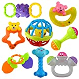 SARTHAM Rattles and Teether for Newborn and Toddler, Set of 8 Pieces (Multicolor)