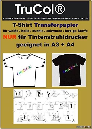 30 Blatt Din A4 T-Shirt Transferfolie / Transfer Papier zum Bedrucken von schwarzen, farbigen und...