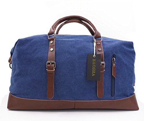 BAOSHA HB-14 Oversized Canvas Weekender Bag Travel Carry On Duffel Tote Bags Weekend Overnight Travel Bag Unisex Travel Holdall Handbag with PU Leather Decoration (Blue)