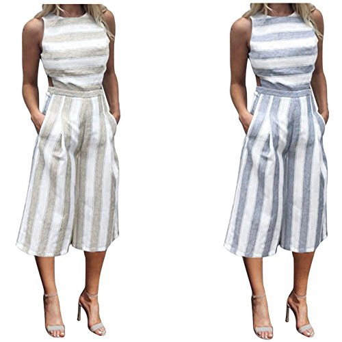 HOMEBABY Sleeveless Striped Jumpsuit For Women, Plus Size Casual Clubwear Wide Leg Pants Outfit
