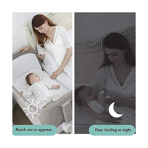 LYYJIAJU Baby Crib Portable Bassinet Bed Infant Kids Travel Playpen Multifunction Height Adjustable Pack Deluxe Beds Pocket Changer Cribs Bag & Caster LYYJIAJU Material: Aluminum alloy tube + cotton and linen (sturdy, environmentally friendly, no odor, no formaldehyde, no toxicity); applicable age: newborn - 2 years old Features: with mosquito net; large-capacity storage bag; foldable, free installation, easy to carry; universal wheel, with brake, silent; breathable mesh bed; seamless splicing bed size (length x width x height): 110X56X78CM; inner diameter: 100x50cm; height adjustable: 6 files (32-67cm) 3