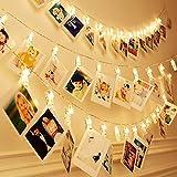 Foto Clip Lichterkette 2.2M 20 LED für Hängende Fotos Gemälde Bilder Karte und Memos für Festival Weihnachten Hochzeit oder Abendessen bei Kerzenschein Dekoration Batteriebetrieben - Warmes Weiß