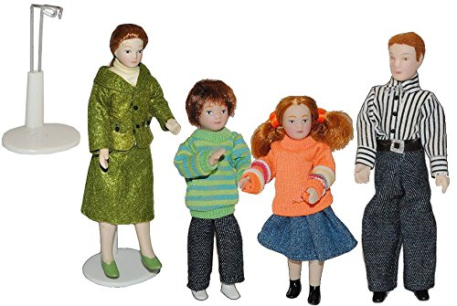 Familie Puppe für Puppenstube Maßstab 1:12 - Porzellan Puppen mit echten Haaren - Biegepuppen Familie Biegepuppe Nostalgie Porzellanpuppe Puppenhaus Porzellan Puppe Baby