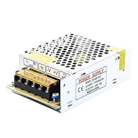 SODIAL(R) LED Transformateur Electronique Transfo 50W 4A 100-220V AC Vers 12V DC