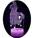3D Optische Illusions-Lampen Win-Y LED-Schreibtisch Tischlampe 7 Farb-Touch-Lampen-Ausgang Schlafzimmer-Büro-Dekor für Kindergeburtstag Weihnachtsgeschenk (Alpaca 2)