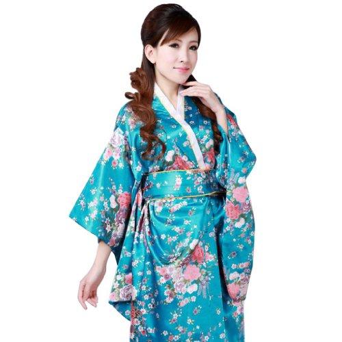 Hee Grand Femme Robe Kimono Japonais Officiel Chinois Petie Fleur Bleu
