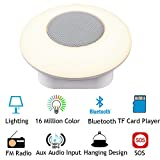 YiJee LED Wireless Bluetooth Speaker With Dancing Lights & FM Radio. Portable Stereo Audio Light Up Speakers for Laptop & Phone w/ Microphone Hands-Free Calls,SOS Distress signal light For Outdoor And Bedroom (White)