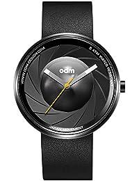 "ODM ""Camera K1000"" Cuarzo Acero Inoxidable IP Negro Cuero Reloj Unisex"