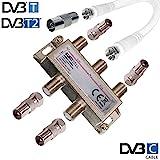 TronicXL 4fach IEC Verteiler Antennenverteiler TV Kabel Adapter Kabelfernsehen 4 er zb für Unitymedia